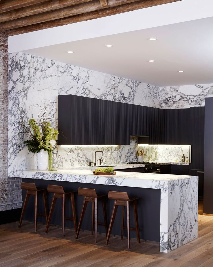 Marble countertops,/backsplash and grey cabinetry
