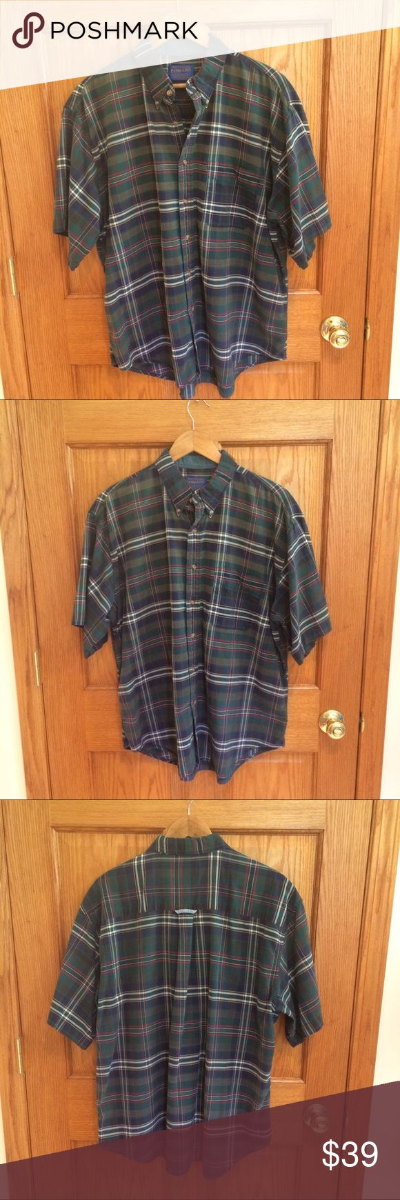 "Vintage Pendleton Button Down Shirt Vintage Pendleton short sleeve button down shirt. 100% cotton. Plaid shirt. Measurements approximately as follows: chest 50"", length - front 30"" and back is 31"". Excellent condition!! Pendleton Shirts Casual Button Down Shirts"