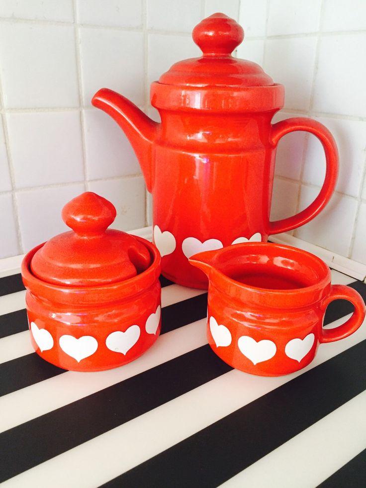 vintage Red Heart Tea Set/vintage tea set/ valentines day tea set/Waechtersbach Heart https://www.etsy.com/listing/253551140/vintage-red-heart-tea-setvintage-tea-set