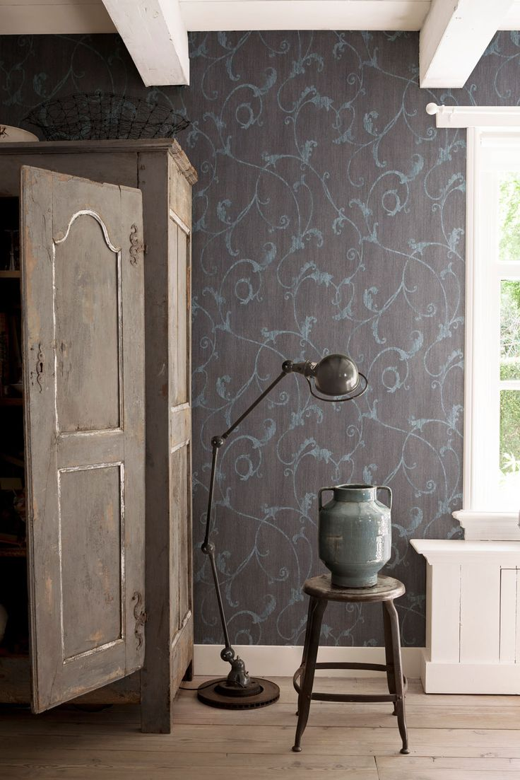 Wallpaper Camarque Grey blue / Behang Camarque grijs blauw - BN Wallcoverings