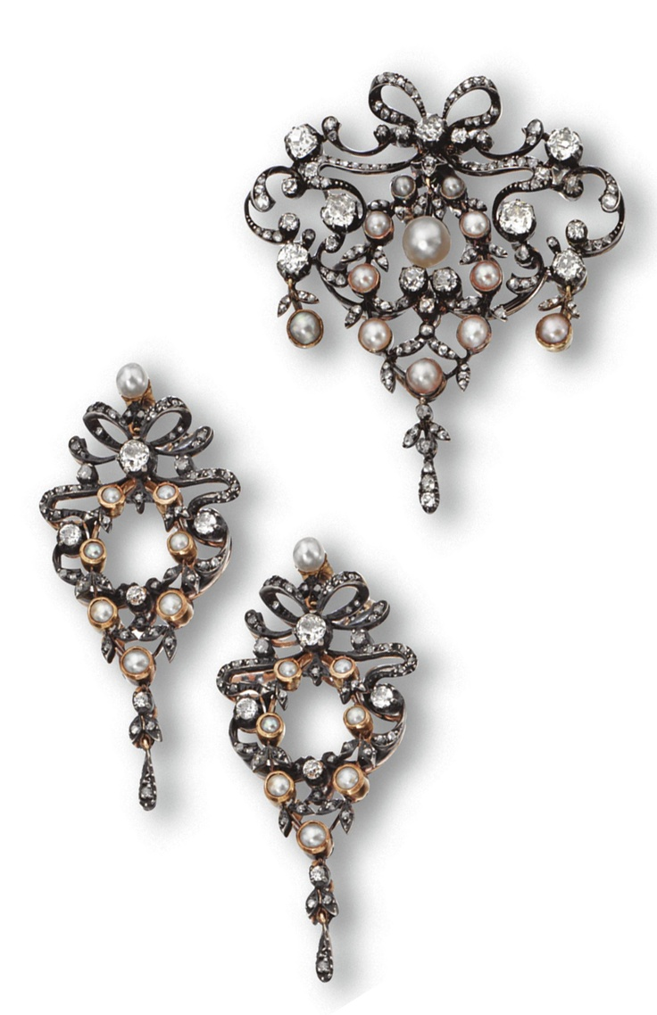 Diamond And Pearl Pendantbrooch And Earrings, Circa 1890 The  Cartoucheshaped