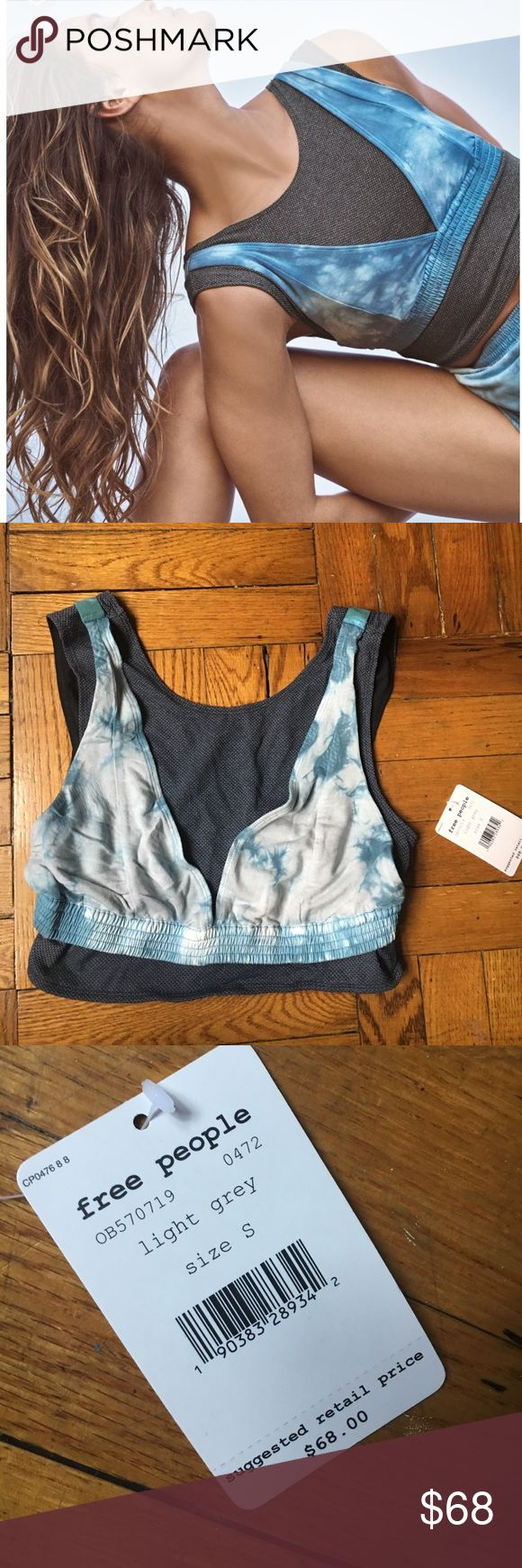 NWT Free People oasis sports bra Free People Oasis sports bra, dark and light blue and white, tie dye print, size small, never worn BRAND NEW WITH TAGS, *please note actual bra has more white to it than the one model is wearing Free People Intimates & Sleepwear Bras
