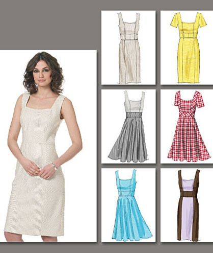 DRESS: Lined dresses A, B, C, D, E, F, fitted through bust, mid-knee, have princess seams, bias midriff and back zipper. A, B, C: bias sides, straight skirt with back slit. B: contrast sides and midriff. D, E, F: bias side bodice, circular skirt, narrow hem. E: contrast bodice. C, F: above elbow sleeves.