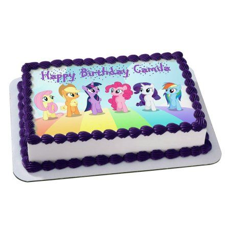 My Little Pony Quarter Sheet Edible Photo Birthday Cake Topper Personalized 1 4
