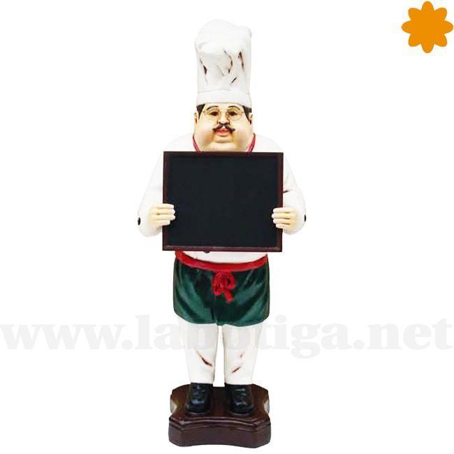 Ésta es la <strong>figura de cocinero de <em>bistrot</em></strong> con pizarra para menú. Se trata de una figura de resina hecha para captar clientes en un restaurante de menú o en un<strong><em> bistrot</em></strong> ya que por su estética y por el gorro estirado parece un cocinero típico de restaurante francés. Dispone de una <strong>pizarra</strong> perfecta para escribir el <strong>menú del día<...