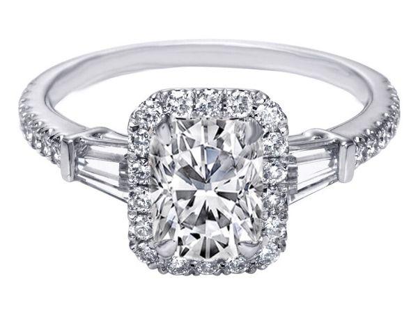 Cushion Cut Diamond Halo Engagement Ring Baguette Side Stones - ES1154CU