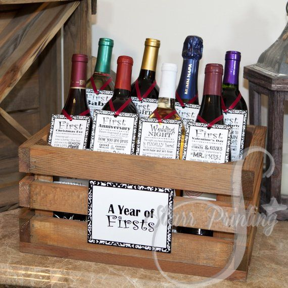 Unique Wedding Gift Basket Ideas: Bridal Shower Wine Crate Gift Set With 8 Tags And Shower