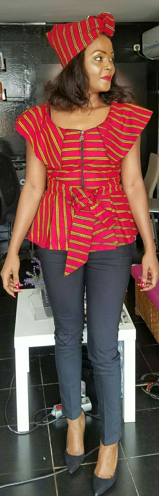 Lovely red chitenge top kanyget fashions+