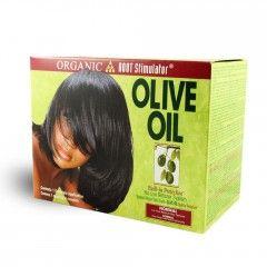 Kit Défrisant Organic Root Stimulator C'est un défrisant qui utilise l'huile d'olive. L'huile d'olive a pour but de  protéger les cheveux contre les dommages pendant le processus de défrisage. 8€60 sur dinafroshop.com
