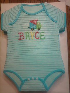 Stripped onesie cake! great for baby showers and first birthdays!