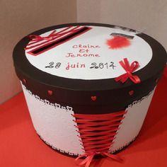Urne - tirelire de mariage  noir blanc&rouge avec laçage