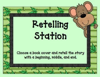"""To play """"Guess The Story"""", one child will choose a familiar book cover from the box and retell the story with a beginning, middle, and end. The other children in the group will guess the title of story."""