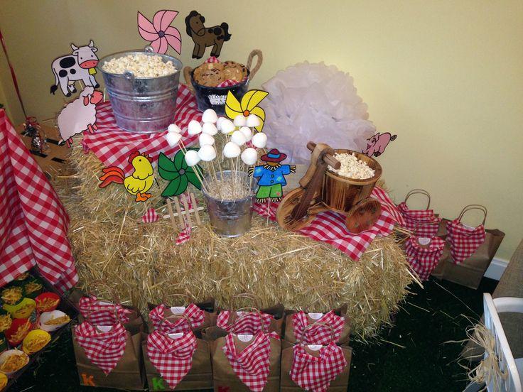 Mesa infantil para merienda, temática granja. Sweets ...