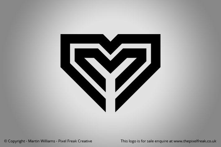 Double M Heart Logo Heart Logo Custom Logo Design Letter Form