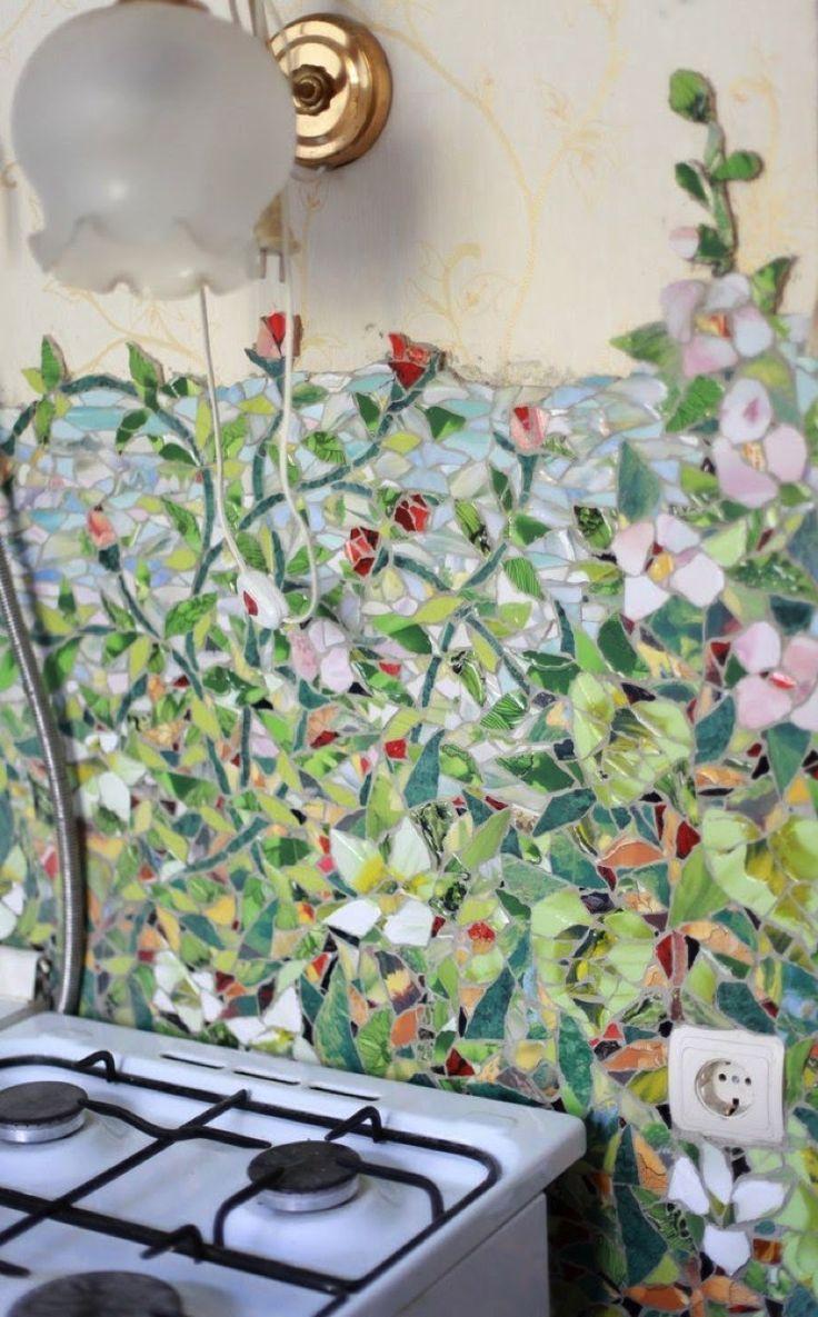 Mosaikkunst in der Küche, aus Wänden Kunst mache…