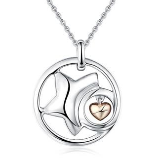 """Bling Bling Platinum Plated 925 Silver Star with Dangle Heart Necklace (16"""") from #YesStyle <3 Bling Bling YesStyle.com"""