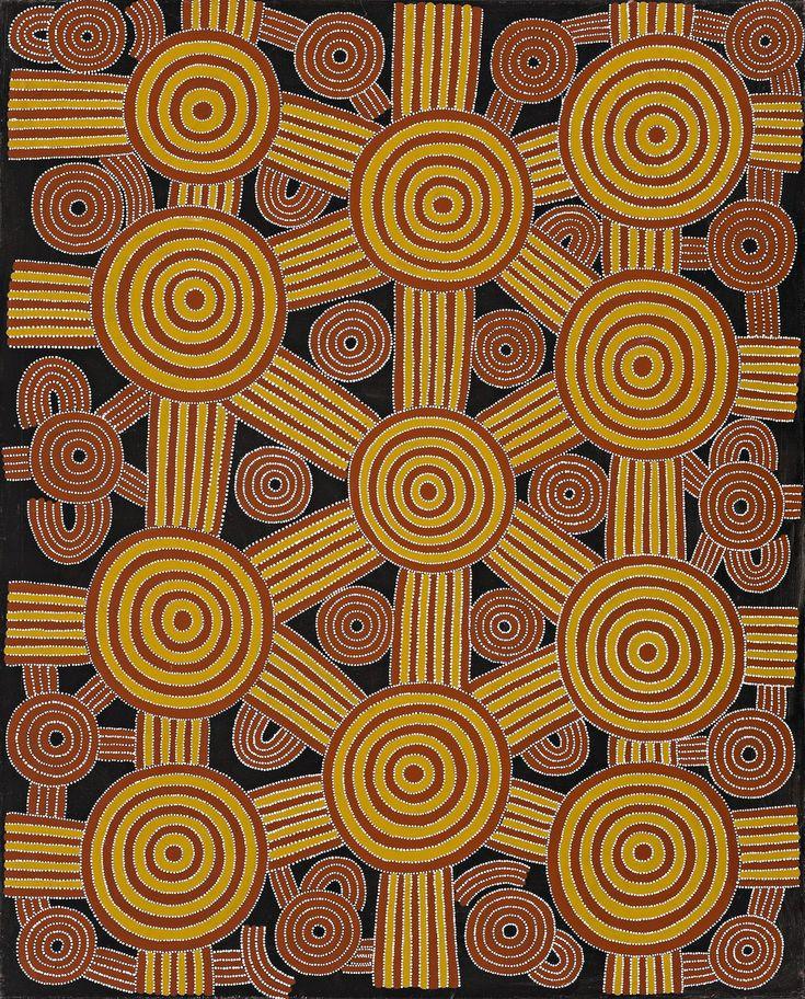 Dave Ross Pwerle - Men sacred ceremonies - 150 x 121 cm http://www.aboriginalsignature.com/art-aborigene-utopia/dave-ross-pwerle-men-sacred-ceremonies-150-x-121-cm