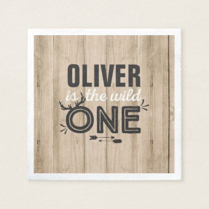 Wild One Birthday Party Napkin Rustic Wild One - rustic gifts ideas customize personalize