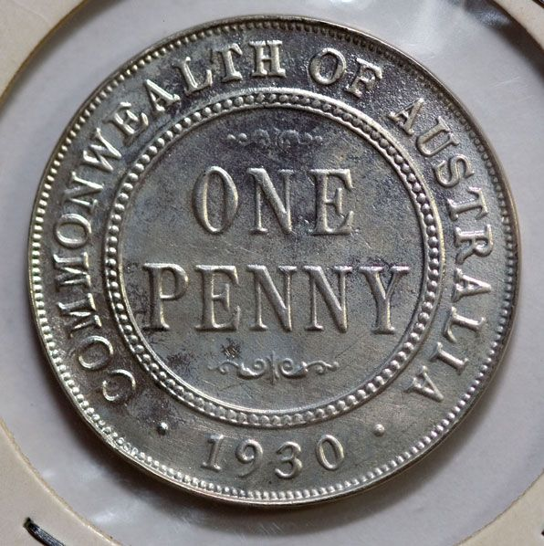 a silver reproduction of a 1930 Australian penny.