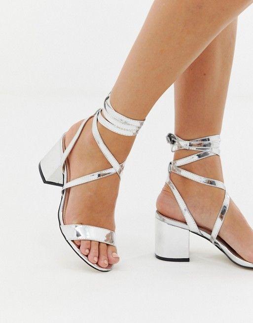 22d26cebb Public Desire Sophie silver mirror ankle tie mid heeled sandals in ...