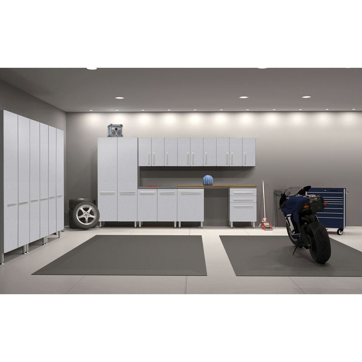 Get the garage of your dreams with this 11-piece set. Sturdy PVC and laminate construction can take plenty of abuse while still looking great, while ball bearing drawer glides and recessed steel hinge