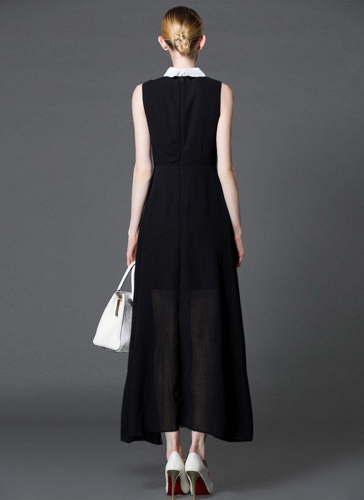 Black Chiffon Maxi Dress with White Shirt Top