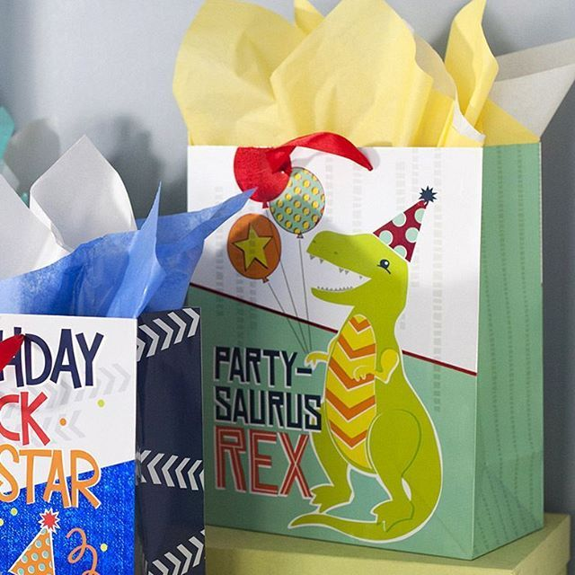 A closer look at a party-saurus!  ©Elizabeth Silver Dinosaur Gift Bags