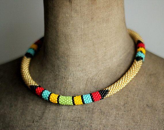 Golden African Necklace Golden Ethnic Necklace by HeriniaJewelry