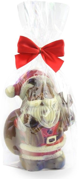 Chocolate Santa with sack by Chocolate Trading Co.  A finely detailed chocolate Santa, carrying his sack of Christmas gifts and teddy.   Made from high quality, hollow milk chocolate. Decorated with white, dark and red coloured chocolate and standing 17cm tall. Gift wrapped with red bow. A great Christmas chocolate token gift.