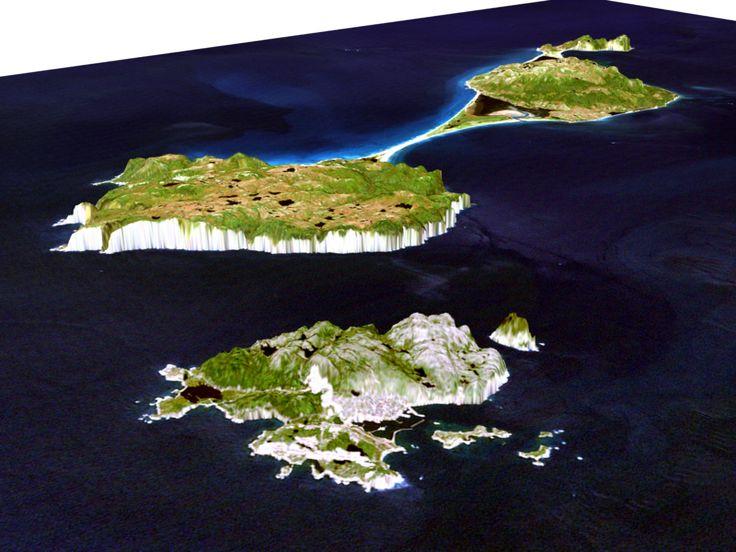 3D image of the Saint Pierre and Miquelon archipelago