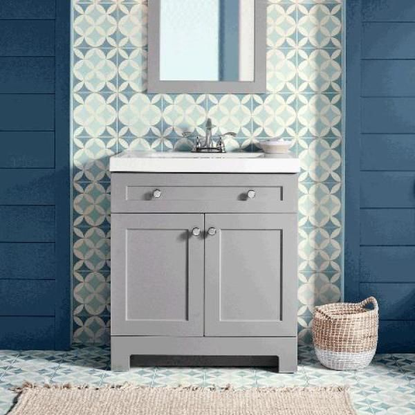 Glacier Bay Everdean 31 In W Vanity Pearl Gray With Cultured