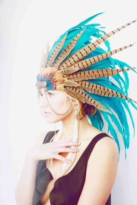 turquoise head dress