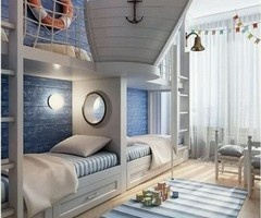 nautical kids room | Decor How cute! Could be a banquette in dining room or use as inspiration for living room storage.