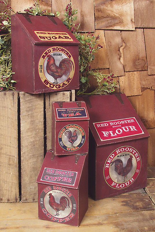 Hinged Wooden Rooster Kitchen Canisters - Set of 4