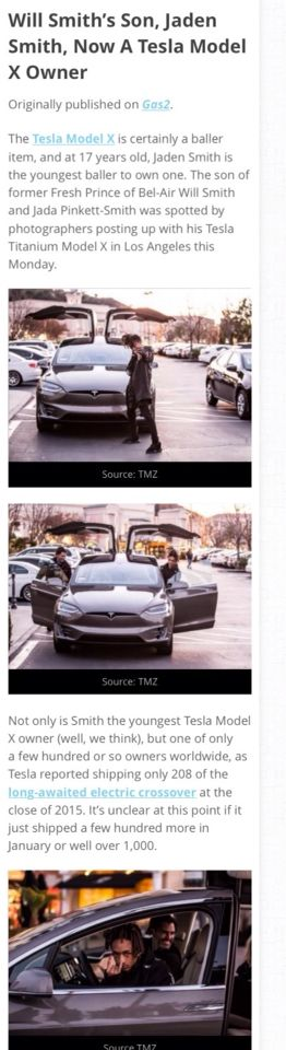 "So Jaden Smith owns a new Tesla, and I can't tell if The Model X is actually the ""model 3"" that will be released in the next 2 years that'll cost $30,000. Whichever model that Tesla is, he's lucky by owning that sweet ride. So why name a car ""model 3"" if it isn't the 3rd Tesla car built?? Shouldn't it be Model 4 if the Model X is considered already out now to car buyers, or does he have the opportunity to own one before others?"
