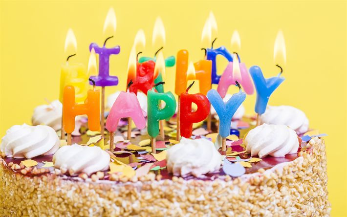 Download wallpapers Happy Birthday, burning candles, 4k, cake on a yellow background, birthday cake, sweets, congratulations