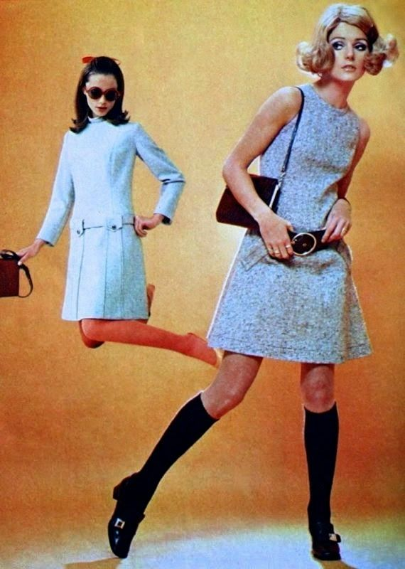 Madeleine (Dutch) January 1969 vintage fashion style color photo print ad model magazine 70s 60s mini dress belt socks white wool