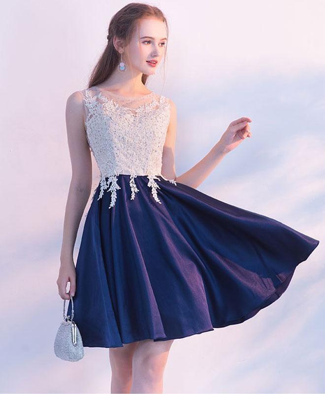 64733c8a6e3 Navy blue round neck lace short prom dress