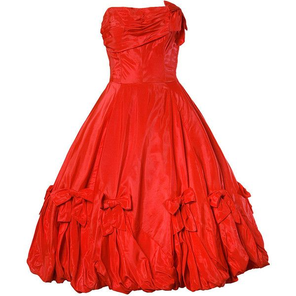 Pre-owned 1950s Vintage Red Taffeta Full Sweep Party Dress with Bubble... ($850) ❤ liked on Polyvore