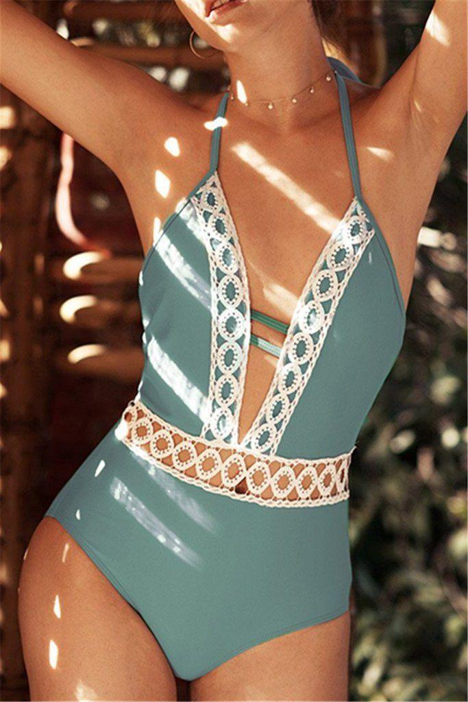 Pavacat Eleganter Damen Vintage Spitzen Badeanzug-Pavacat