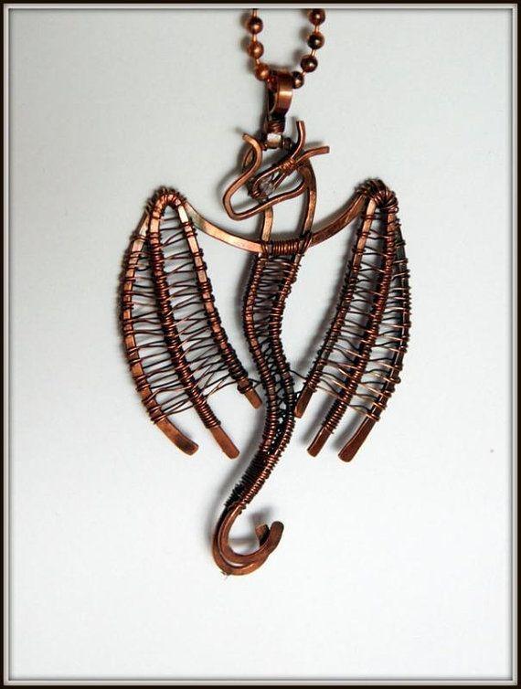 Wire Wrapped Dragon Pendant Copper Dragon Necklace Copper