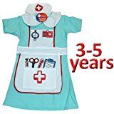 NURSES OUTFIT GIRLS KIDS FANCY DRESS UP AGE 3-5 UNIFORM COSTUME HOSPITAL DOCTOR