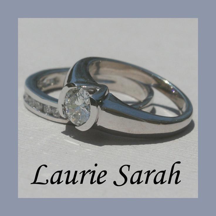 Channel Set And Half Bezel Set Diamond Engagement Ring