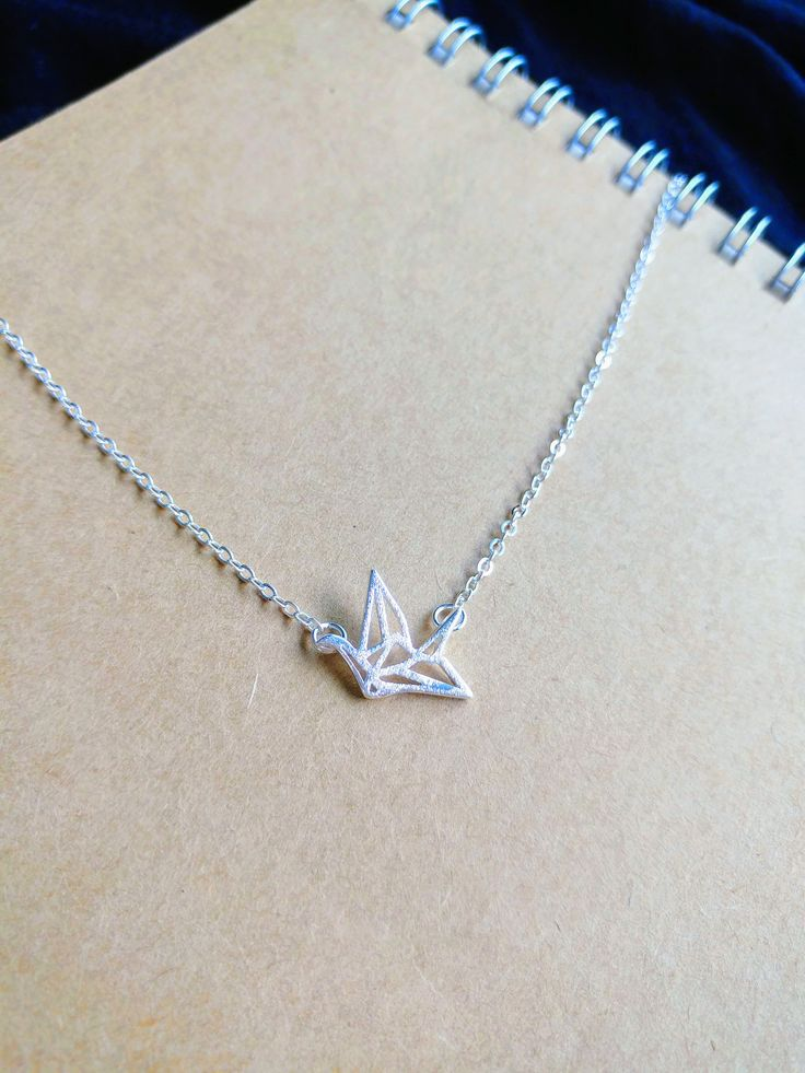 925 Sterling Silver Lucky Charm Origami Crane necklace (matte finishing) by ThoughtsAccessories on Etsy
