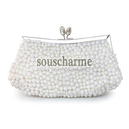 pochette mariage blanche aux perles simili sac main de mari e pas cher pochette soir e sac. Black Bedroom Furniture Sets. Home Design Ideas