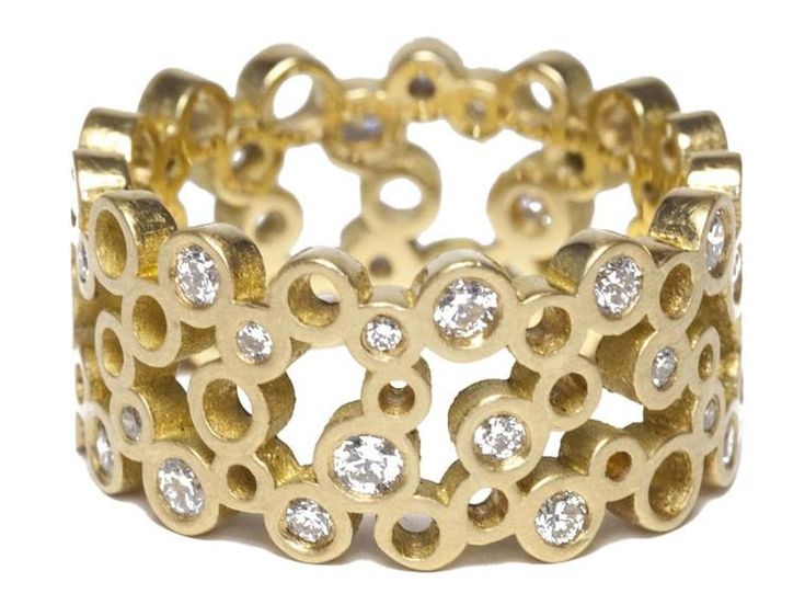 Sarah Stafford yellow gold ring with circular pierced motifs, randomly set with brilliant-cut diamonds