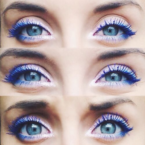 White liner + blue mascara = beautiful eyessss