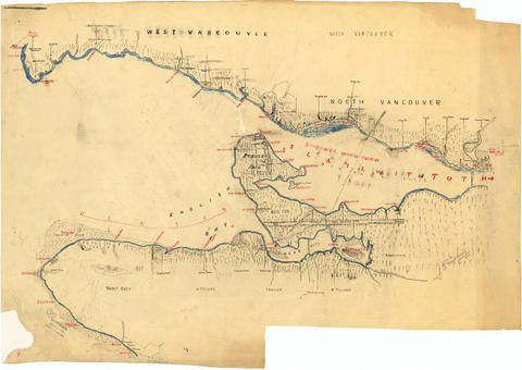 [Draft map of Indian villages and landmarks, Burrard Inlet and English Bay, before the whiteman came] - City of Vancouver Archives