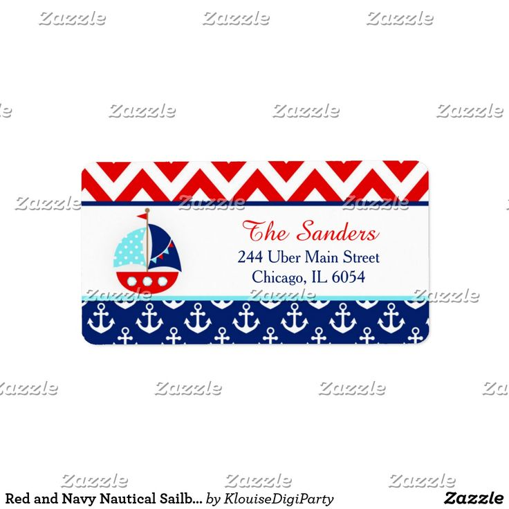 Red and Navy Nautical Sailboat Baby Shower Label