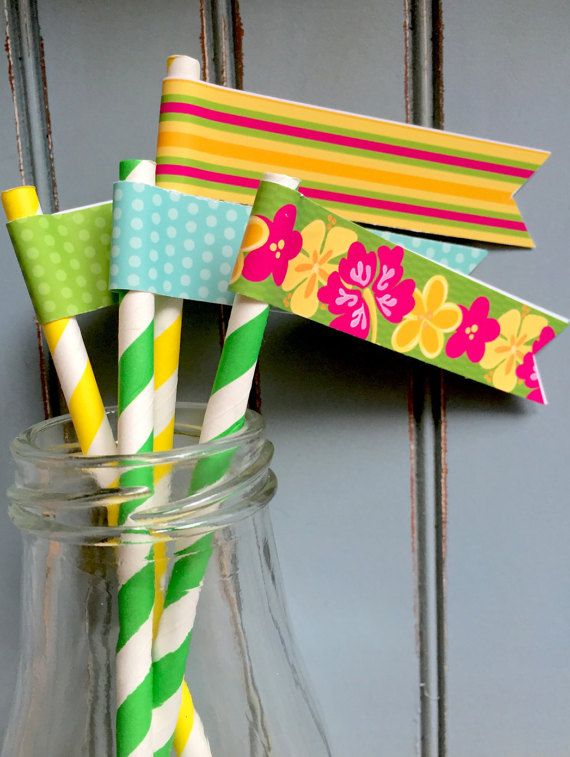 Luau Party Drink Flags Sold as an Instant Download by JulieBluet